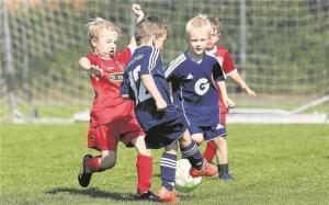 Die Jugendabteilung der Fortuna, hier die Minikicker (blaue Trikots), sieht sich für die Saison 2021/2022 gut aufgestellt